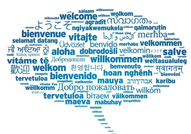 Speech bubble with welcome in different lanhuages on white background.